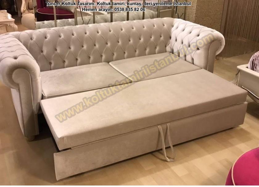 Yataklı Chester Koltuk Modelleri / Yataklı Kanepe Döşeme