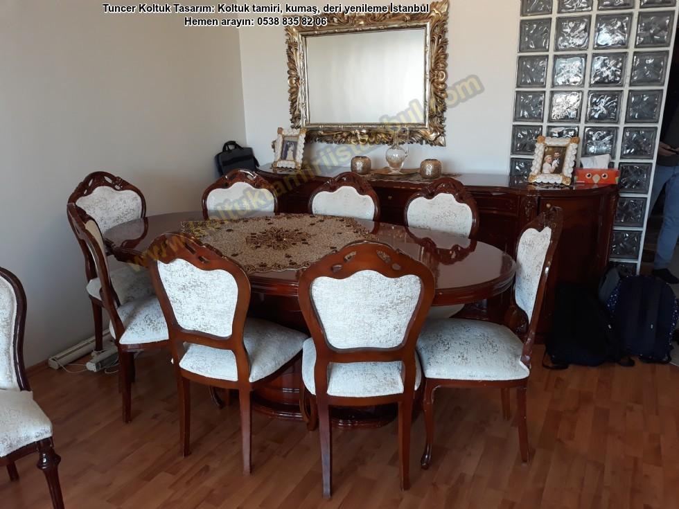 Klasik Yemek Odası Sandalyeler Cilalandı Yenilendi