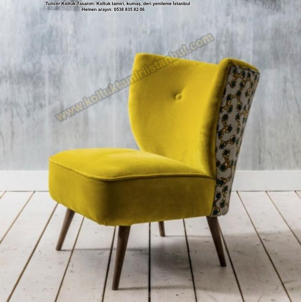 Sarı Renk Kumaşlı Berjer Tekli Koltuk Modelleri