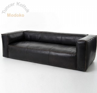 Modern Koltuk Lüks Kanepe Gerçek Deri Siyah Renk Kanepe Üretimi